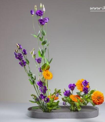 contrasting style moribana ikebana Ikebana Art of flower arrangement, Rules, Lines & Styles.