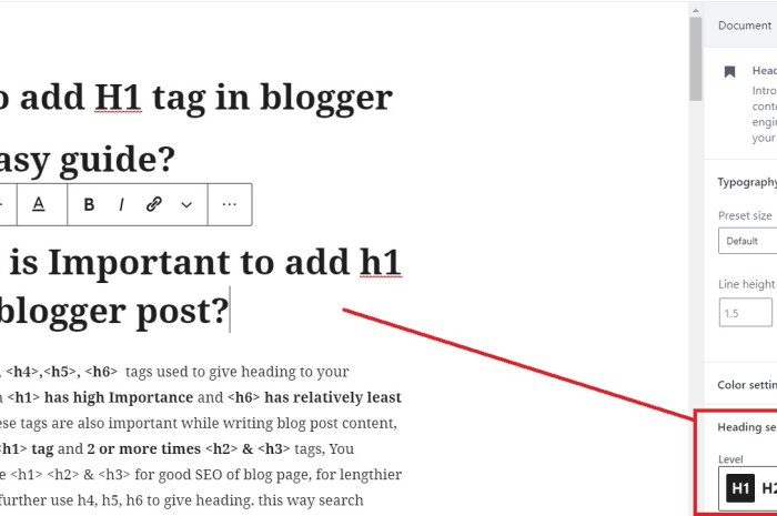 How to add H1 tag in blogger Post Easy guide?