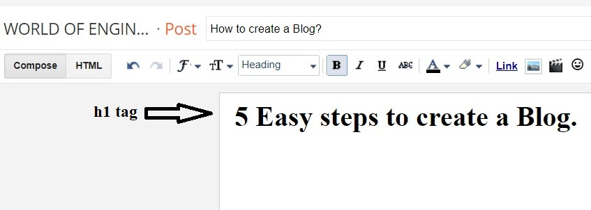 how to create a blog 4 How to add H1 tag in blogger Post Easy guide?