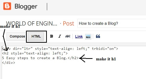 how to create a blog post 2 1 How to add H1 tag in blogger Post Easy guide?