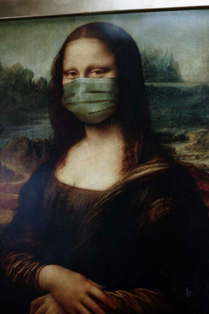 Monalisa painting with Corona/Covid 19 mask