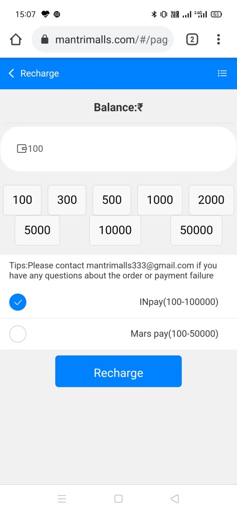 select UPI Color prediction Game - MantriMalls to earn 1K-2000Rs a day.