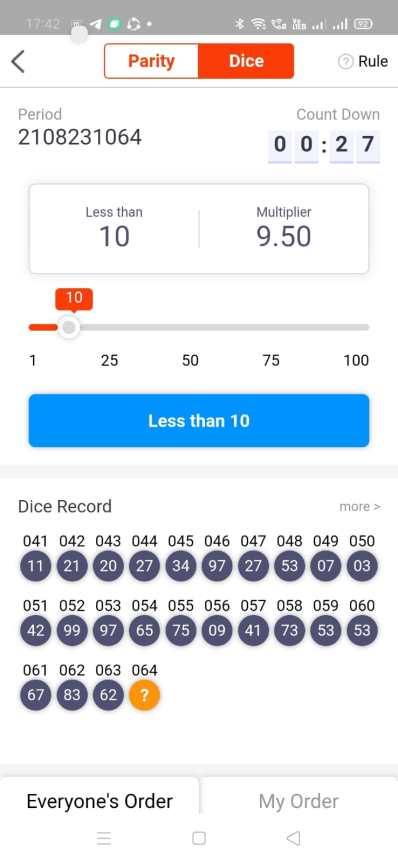 Fiewin real money app- Dice game.