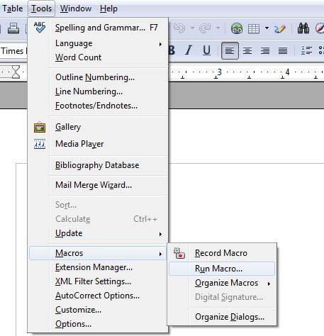 Macro-Open Office Writer