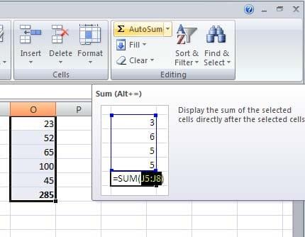 Autosum - Spreadsheet Class 10th