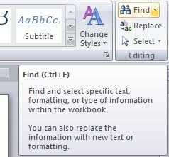 Find - word Processing