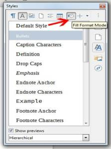 Fill format Mode -Libre office Writer