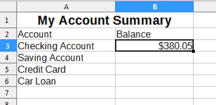 Account Summary Sheet