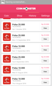 bukti pembayaran pulsa gratis coin monster Apk 2