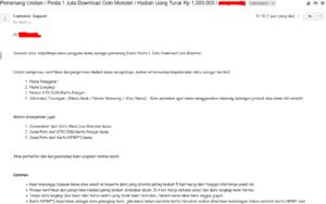 screenshot data yang harus dilengkapi untuk pengambilan hadiah Event 1 Juta Download Coin Monster