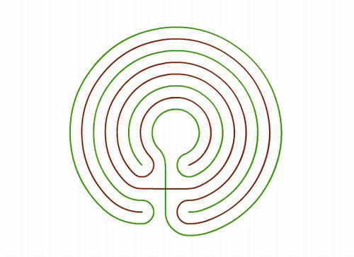 The Knidos labyrinth in 2 colours