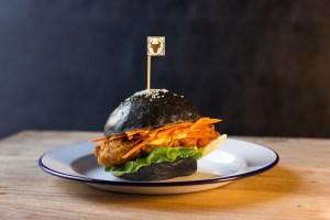 Black charcoal chicken bun