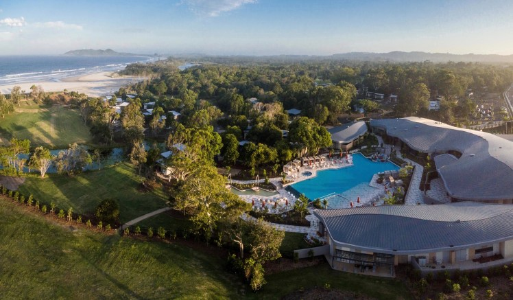 Aerial view of Elements of Byron resort, Byron Bay