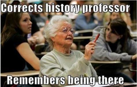 A grandma in college