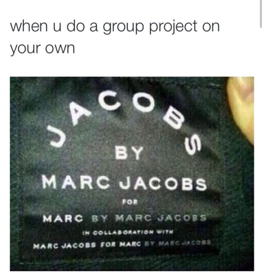 Meme with text about doing group projects on your own