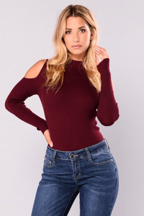 Boots, Jeans, and Cold Shoulder Sweater Combination