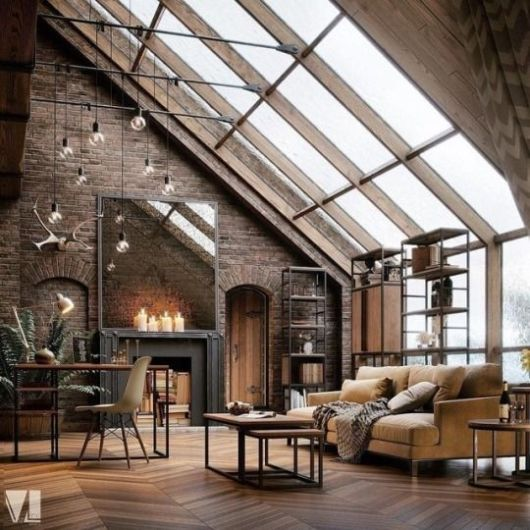 Industrial-style is one of the spring interior design trends that is known for its lofty style.