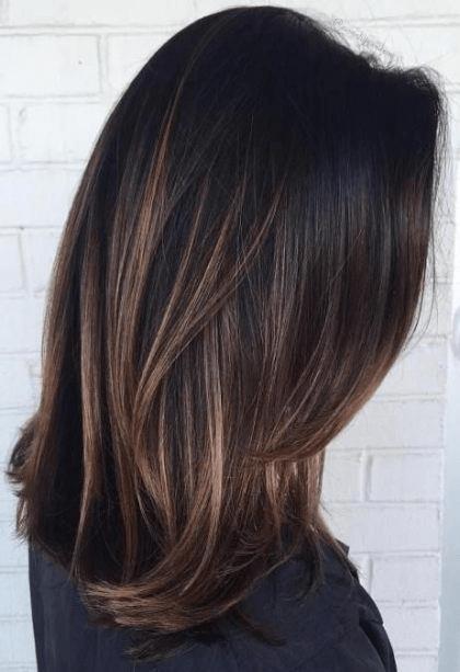 Lob hair cut with highlights
