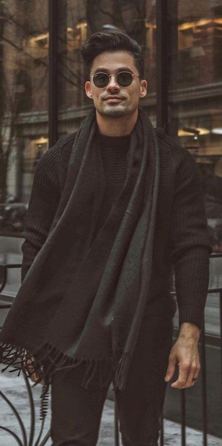Man Wearing Black Scarf
