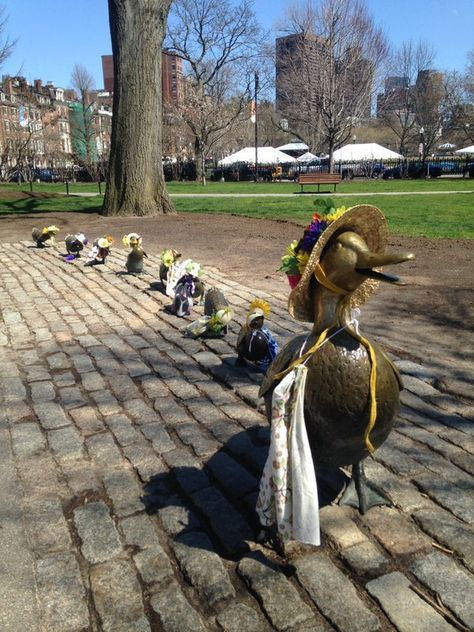 A statue of the famous ducks at Boston Common.