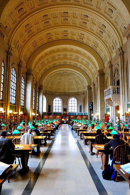 The famous Bates Hall in the Central branch of the Boston Pubic Library.