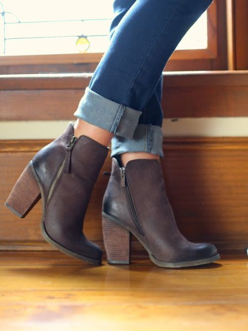 Stack Heeled Ankle Boots