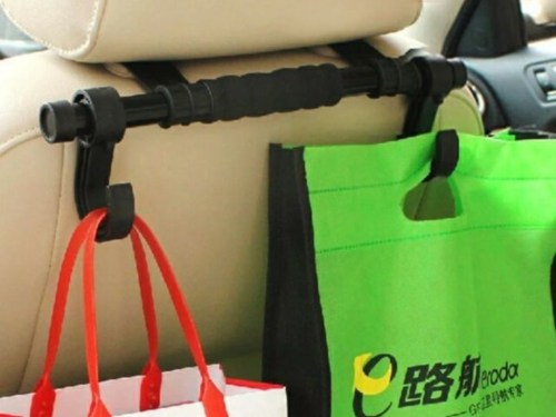 car headrest hooks you can use to keep purses, bookbags, and even grocery b