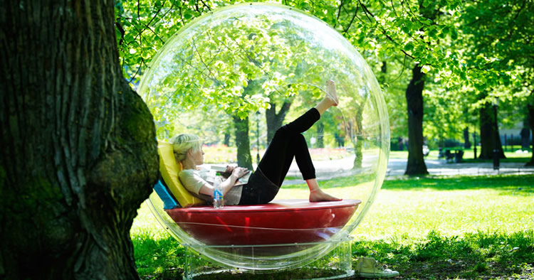 Girl resting while inside a bubble
