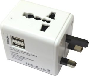 A Universal Travel adapter with USB plugins to fit all kind of switches anywhere n the world