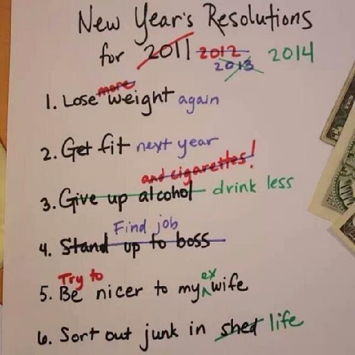 white board with resolutions crossed out