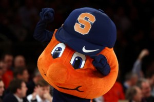 NEW YORK, NY - MARCH 14:  Otto, the mascot for the Syracuse Orange performs against the Pittsburgh Panthers during the quaterfinals of the Big East Men's Basketball Tournament at Madison Square Garden on March 14, 2013 in New York City.  (Photo by Elsa/Getty Images)