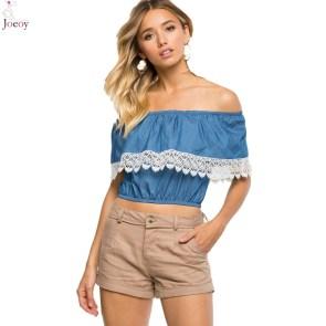 women-blue-off-shoulder-lace-trim-denim-crop-top-2016-spring-new-arrival-casual-solid-short