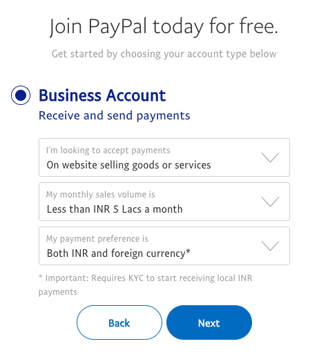 type de compte professionnel paypal