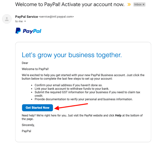mail d'activation paypal