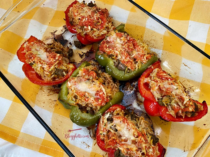 baked stuffed spicy sausage peppers