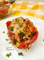 close up of stuffed pepper with spicy sausage