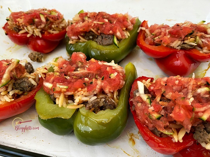 filling the prebaked peppers