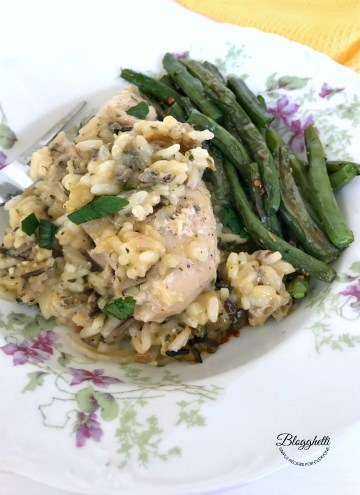 serving of Slow Cooker Creamy Chicken and Wild Rice with green beans
