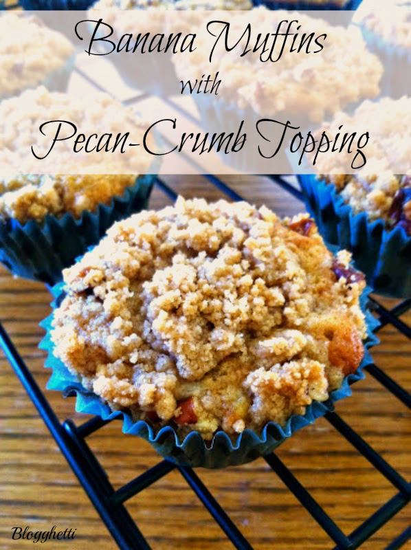 banana muffins with pecan-crumb topping
