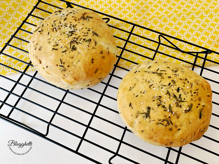 Homemade Rosemary Bread cooling on wire rack