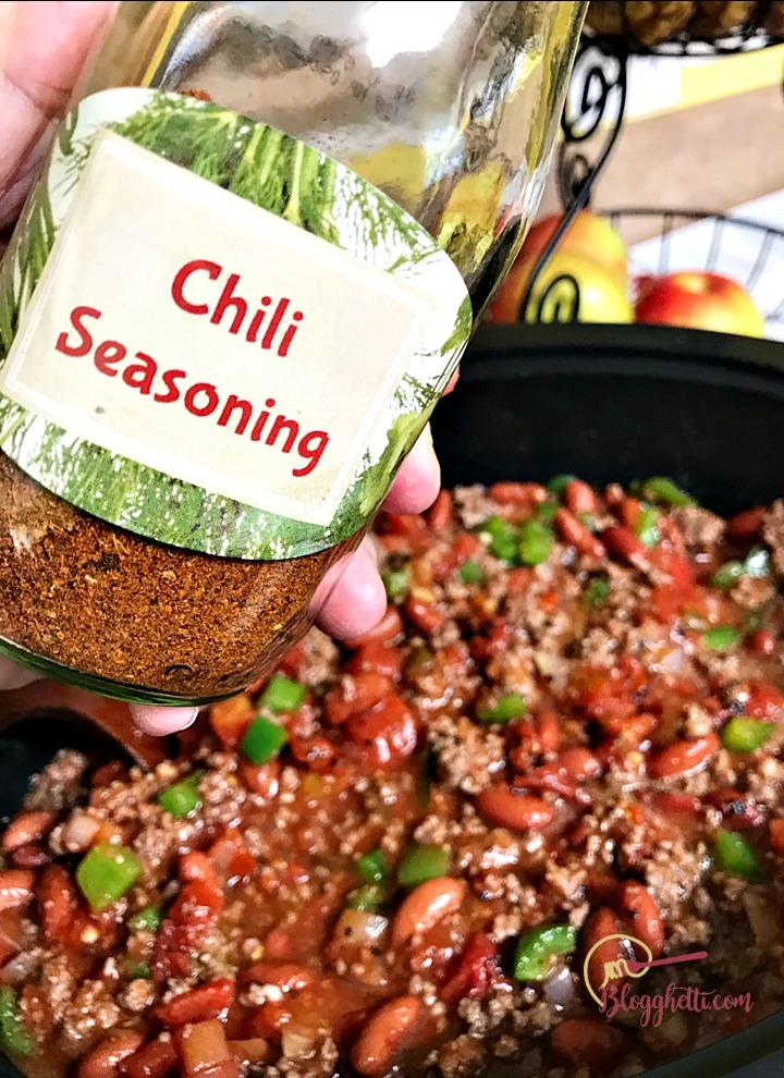 diy homemade chili seasoning in slow cooker chili