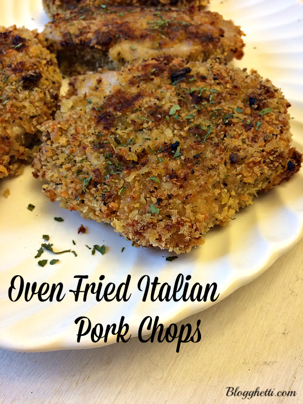 Oven Fried Italian Pork Chops with a seasoned Panko crispy coating  are so moist and tender that you'll only need a fork to cut them.