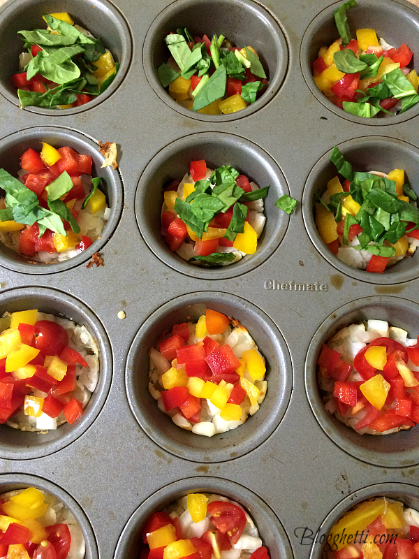 veggies in muffin tin
