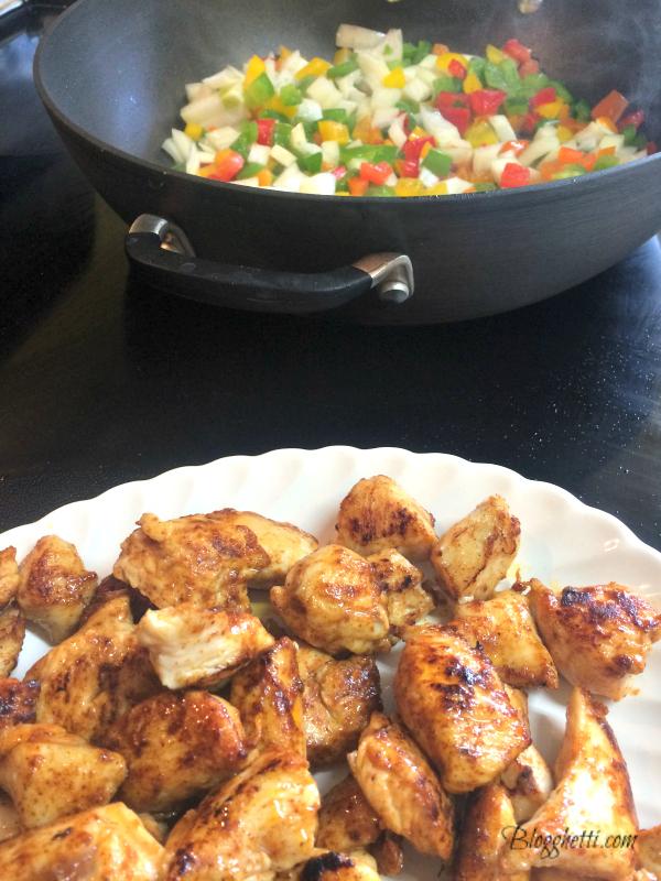 Chicken fajita prep