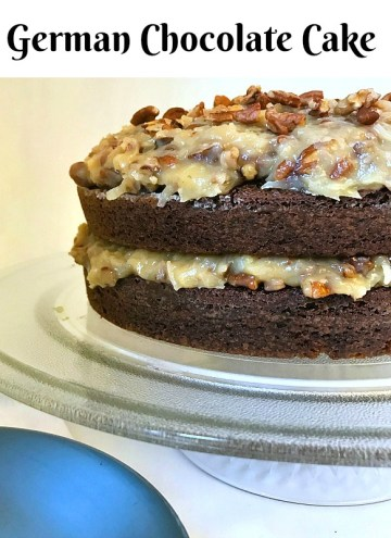Rich, moist layers of chocolate cake with a creamy coconut pecan frosting come together in this classic German Chocolate Cake. Every bite has a light crunch from the pecans, the sweetness from the coconut and the richness from the layers of chocolate cake.