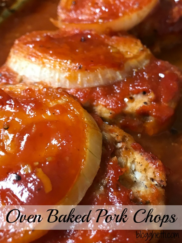 The simple glaze on these Oven Baked Pork Chops add so much flavor to the otherwise boring pork chop. The sauce is a mixture of brown sugar, ketchup, and Dijon mustard. It makes the most delicious glaze and that thick slice of onion bakes on top of the pork chops perfectly.