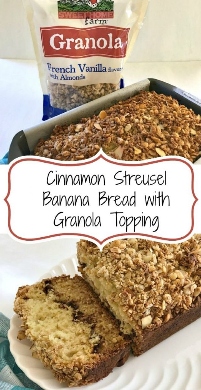 This Cinnamon Streusel Banana Bread has all the flavors and textures that you love about coffee cake and banana bread in one delicious loaf. The topping for this quick breadhas almonds and a flavorful vanilla granola.