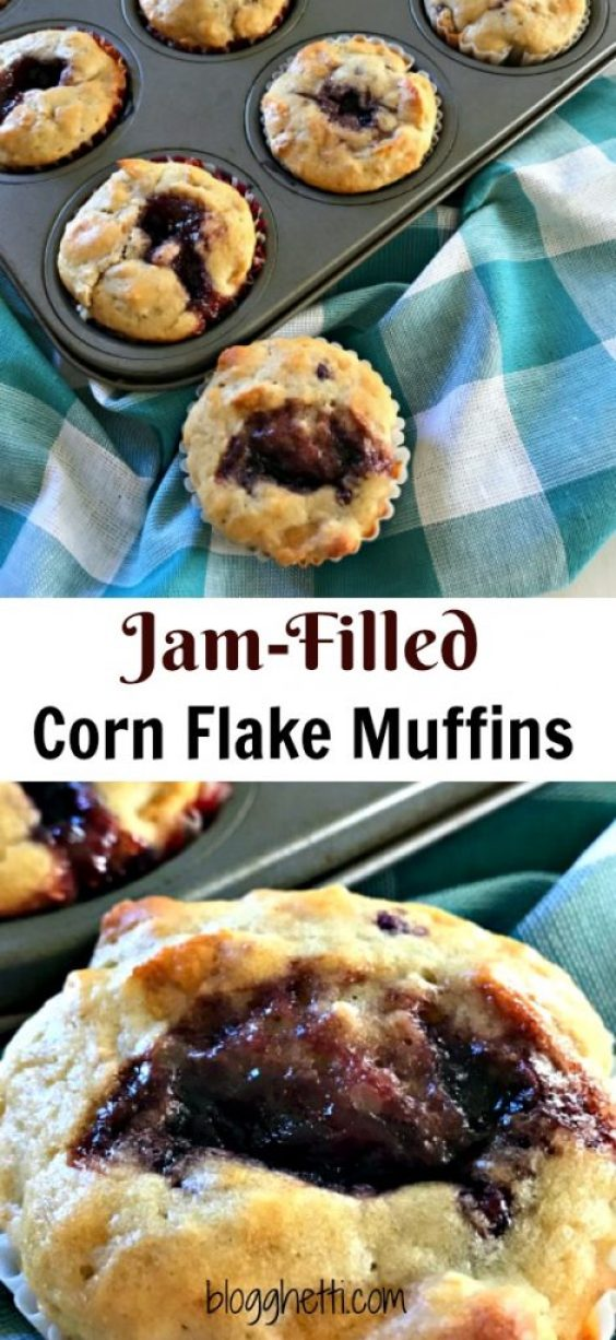 These moist and tender Jam-Filled Corn Flake Muffins are the perfect way to start your day or a quick pick-me-up snack in the afternoon. The sweetness of the jam bake inside the cereal is such a treat and change from your typical breakfast meal or snack.