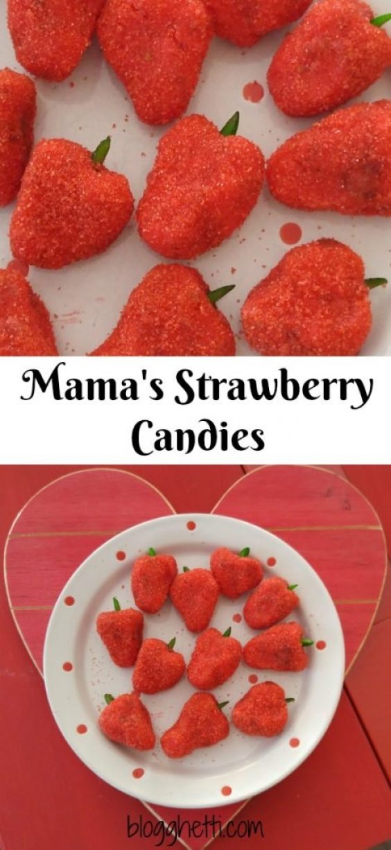 These coconut strawberry-shaped confections make a pretty addition to any dessert tray and require no baking. I love a good retro recipe with memories and this one does not disappoint - super sweet in more than one way!