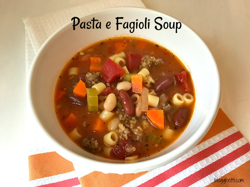 Pasta e Fagioli Soup is a classic Italian soup of beans and short pasta with tomatoes, vegetables, and spicy sausage.